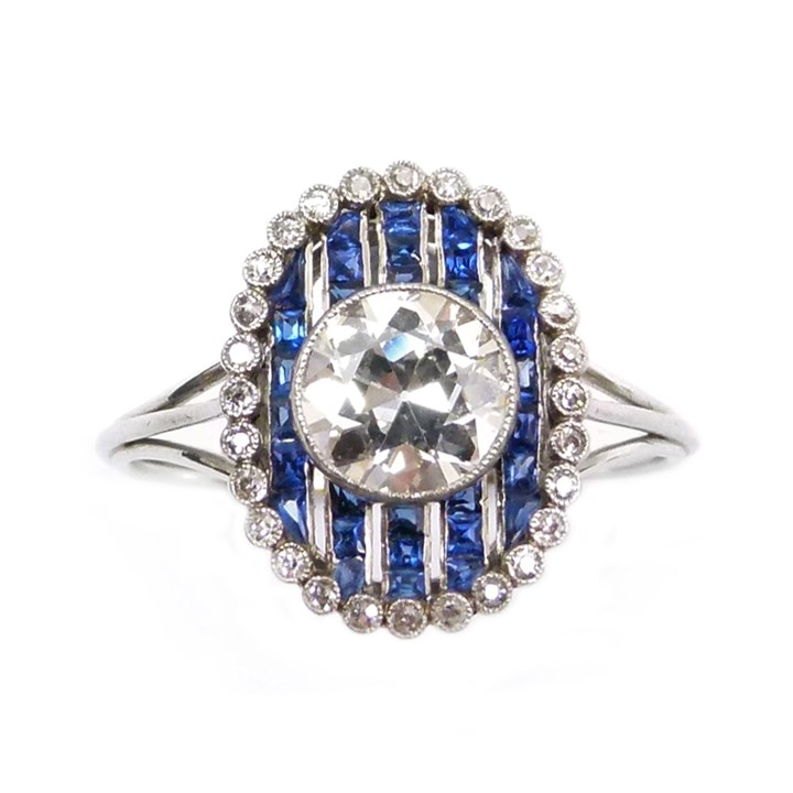 Early 20th century diamond and sapphire cluster ring