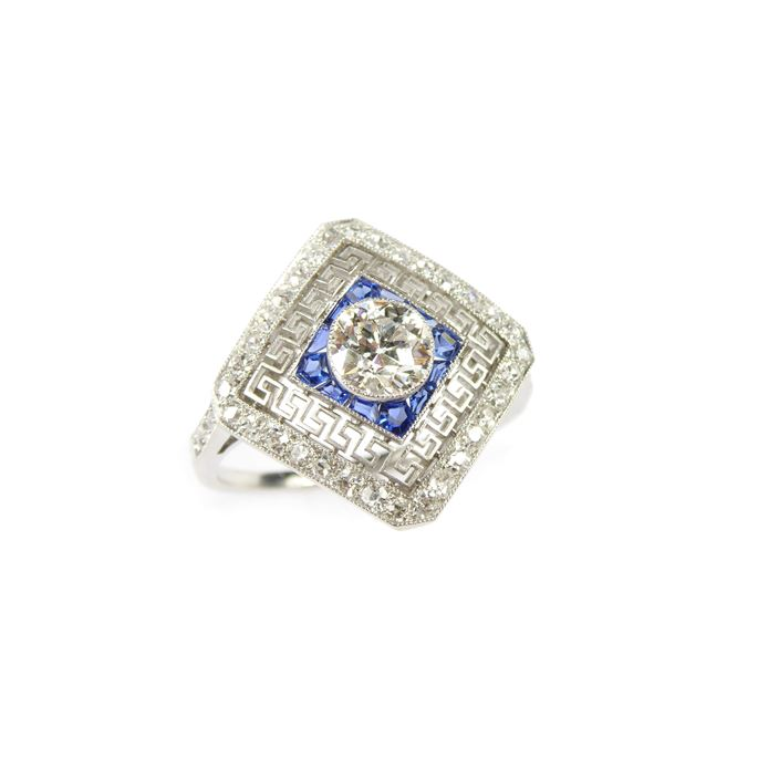 Early 20th century diamond and sapphire square cluster ring | MasterArt
