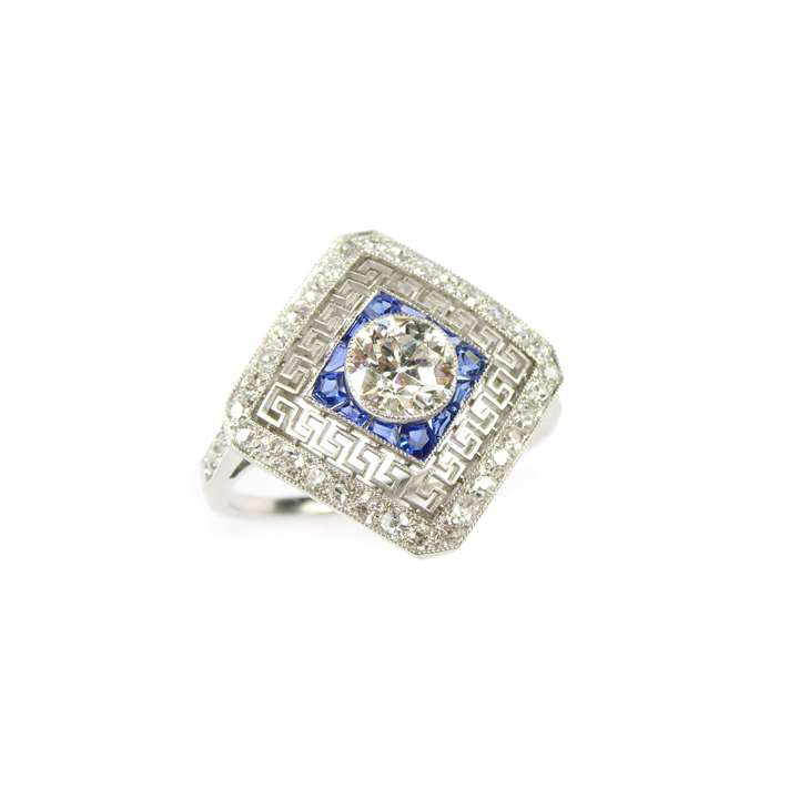 Early 20th century diamond and sapphire square cluster ring