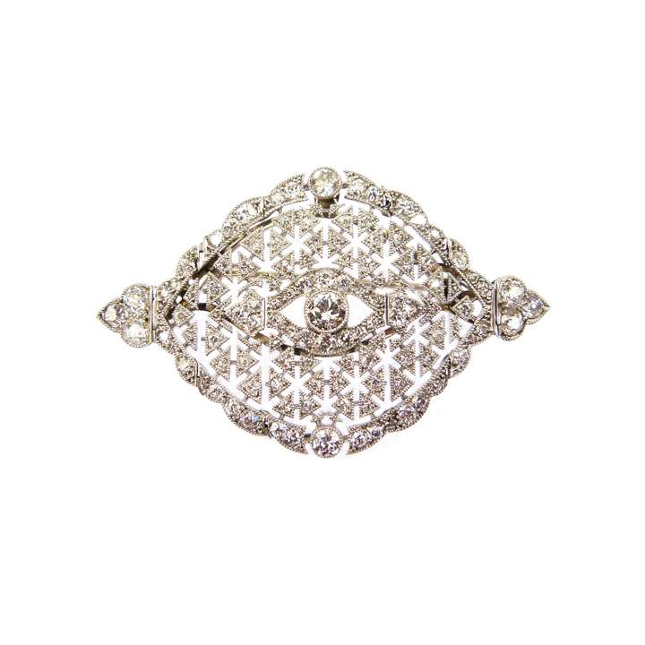 Early 20th century diamond pierced navette cluster brooch