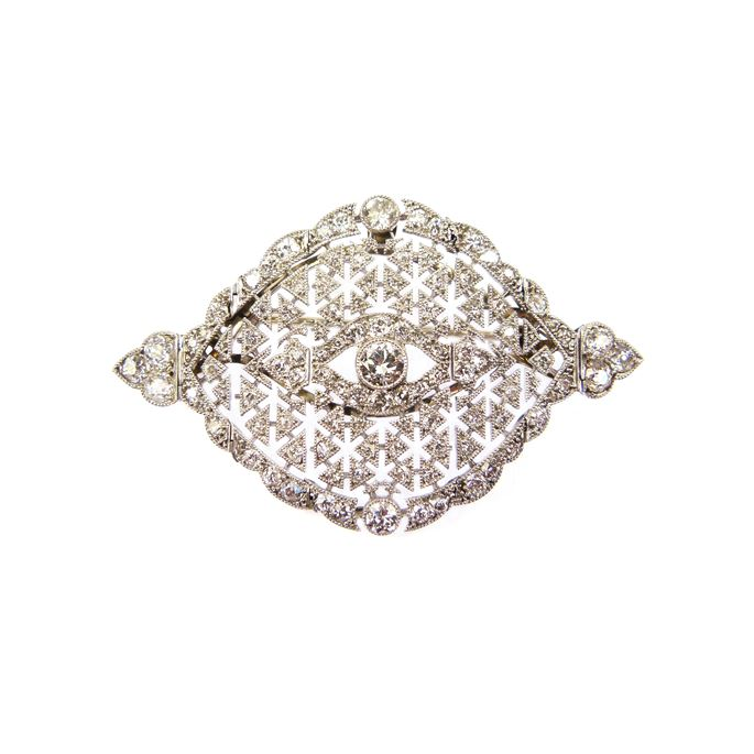 Early 20th century diamond pierced navette cluster brooch | MasterArt