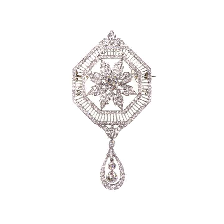 Early 20th century diamond set octagonal pendant brooch