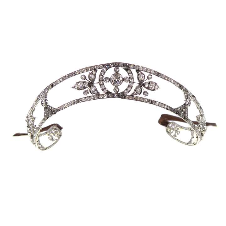 Early 20th century diamond set scrolling bandeau-tiara