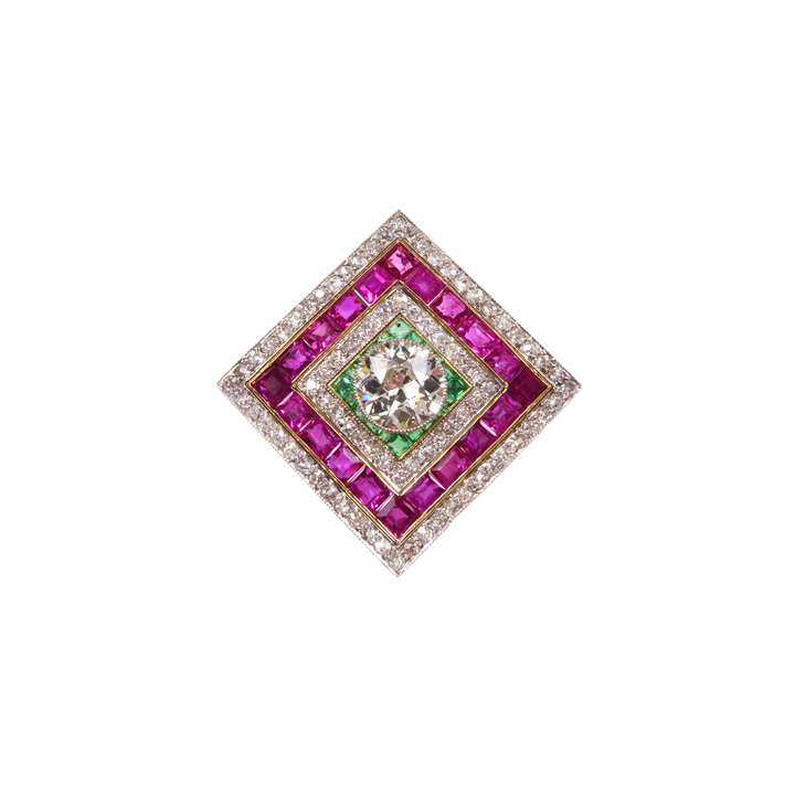 Diamond, emerald and ruby oblique square brooch-pendant