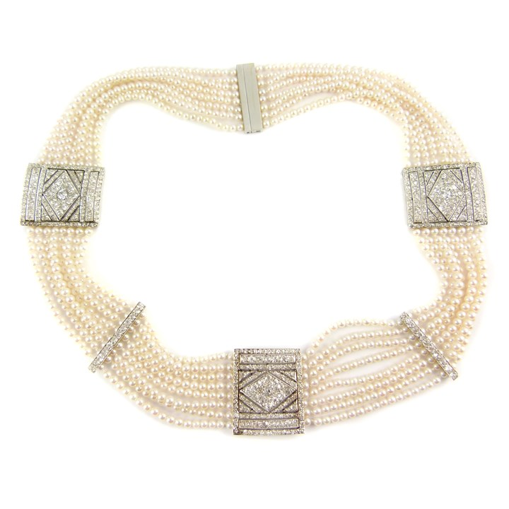 Early 20th century eight row cultured pearl and diamond collar necklace