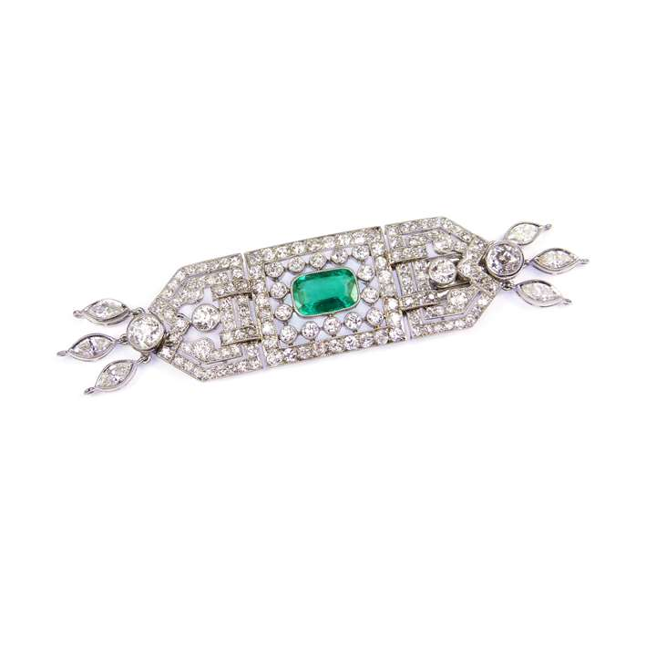 Early 20th century emerald and diamond articulated cluster clasp with fittings for three rows