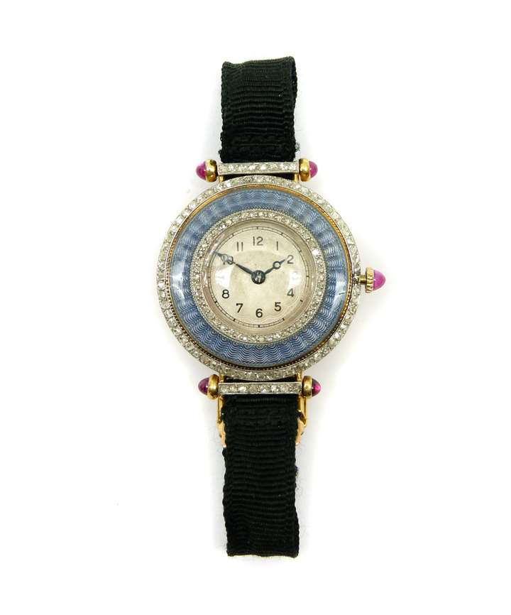 Early 20th century enamel, diamond and ruby lady's wristwatch