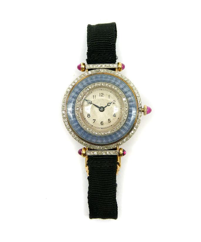 Enamel, diamond and ruby lady's wristwatch | MasterArt