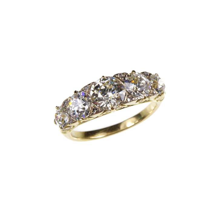 Early 20th century graduated five stone diamond ring