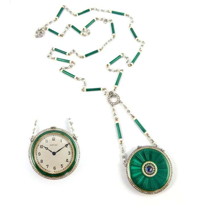 Early 20th century green and white enamel, diamond and sapphire pendant watch