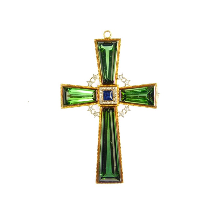 Early 20th century green tourmaline, sapphire and diamond cross pendant