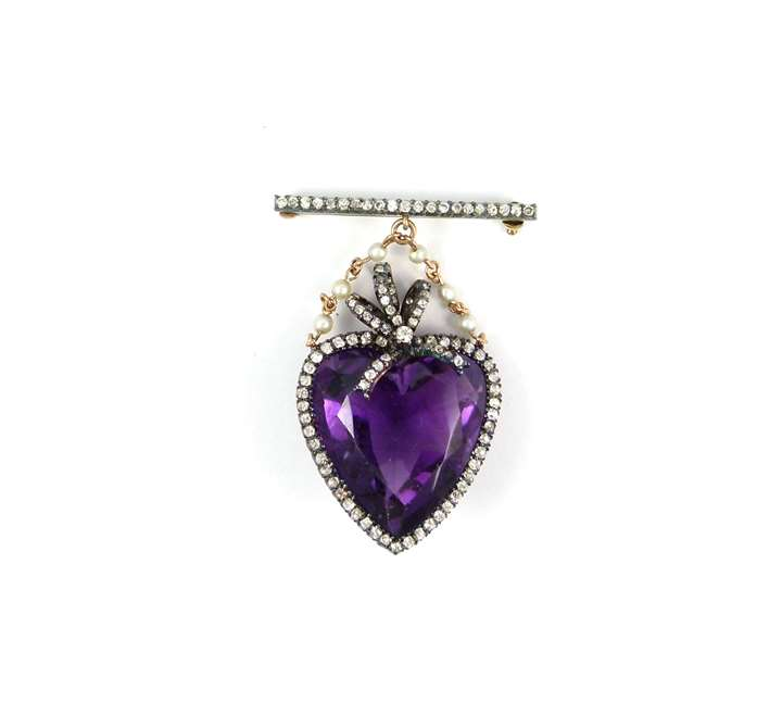 Early 20th century heart shaped amethyst and diamond set brooch