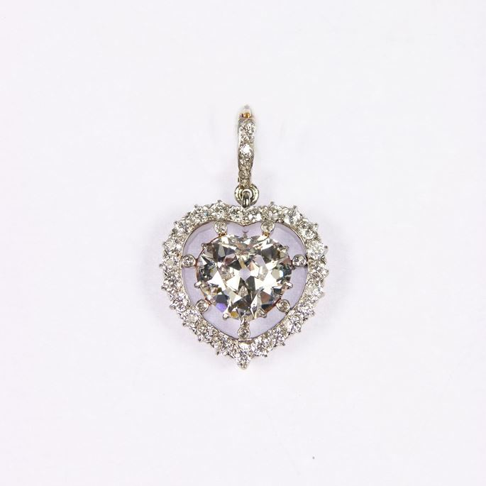 Early 20th century heart shaped diamond cluster pendant | MasterArt