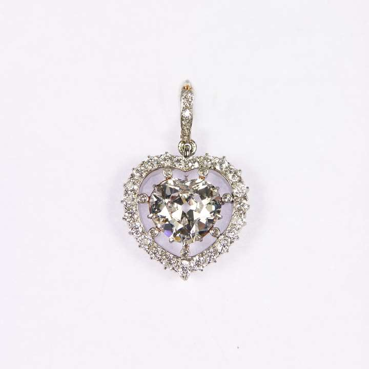 Early 20th century heart shaped diamond cluster pendant