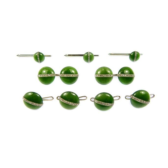 Early 20th century nephrite jade and diamond gentleman's dress set comprising a pair of cufflinks, four buttons and three studs | MasterArt