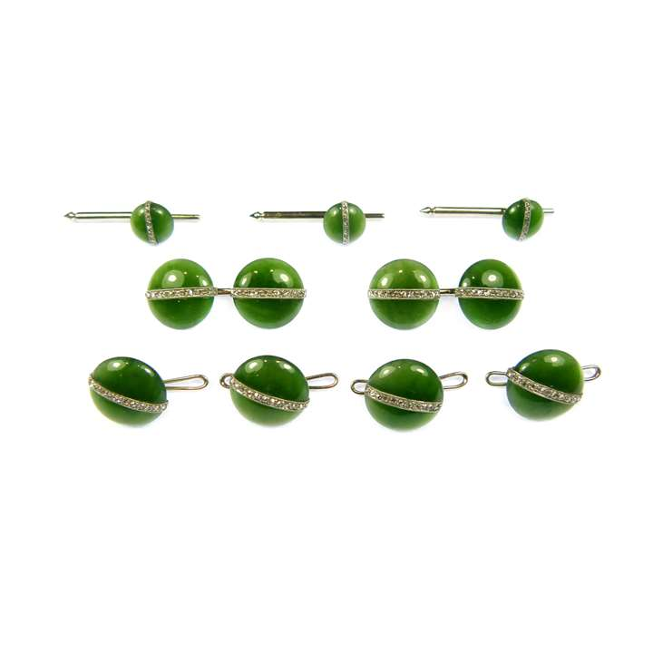 Early 20th century nephrite jade and diamond gentleman's dress set comprising a pair of cufflinks, four buttons and three studs