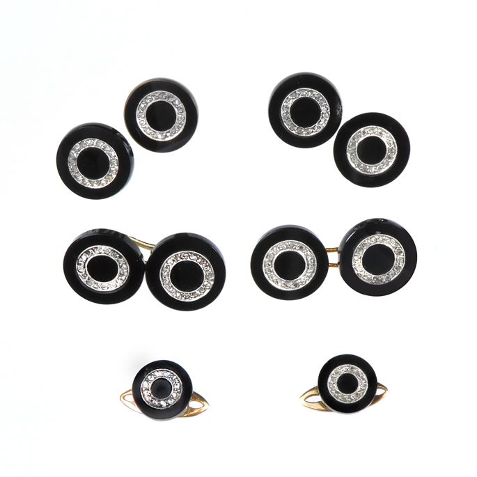 Early 20th century onyx and rose cut diamond gentleman's dress set, French c.1910, comprising a pair of cufflinks, four buttons and two studs, | MasterArt