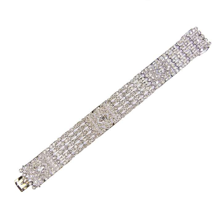 Early 20th century openwork diamond strap bracelet
