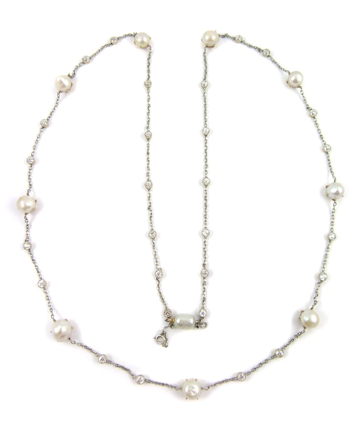 Early 20th century pearl and diamond chain necklace