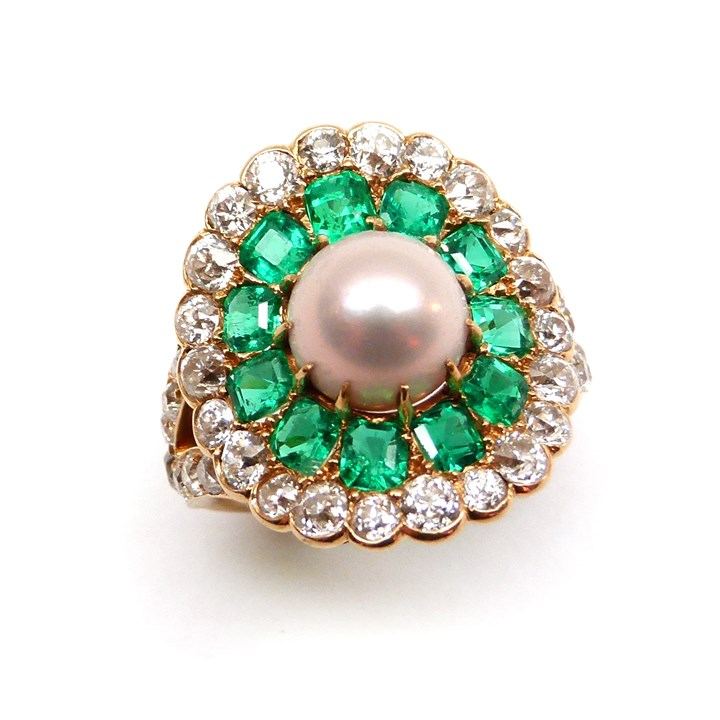 Early 20th century pearl, emerald and diamond flowerhead cluster ring