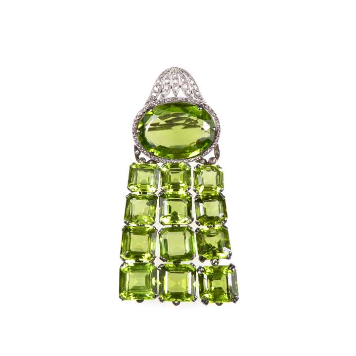 Early 20th century peridot and diamond brooch with later peridot fringe