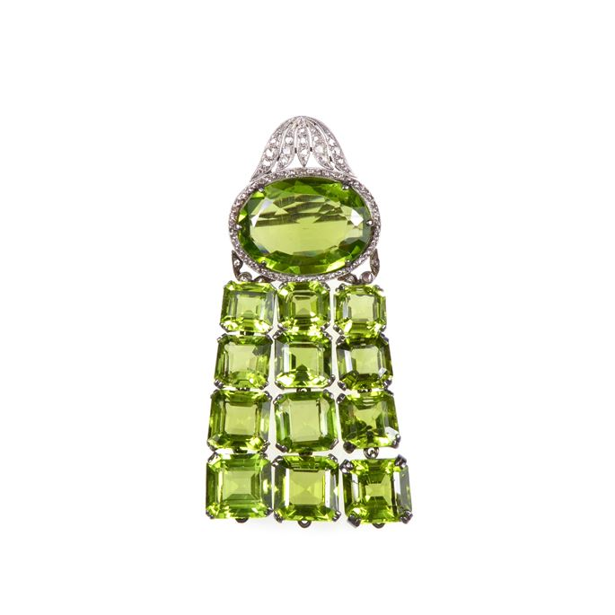 Early 20th century peridot and diamond brooch | MasterArt