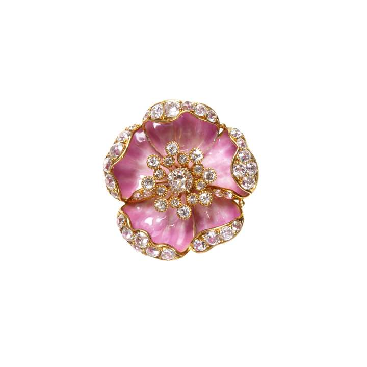 Early 20th century pink enamel and diamond set flowerhead brooch