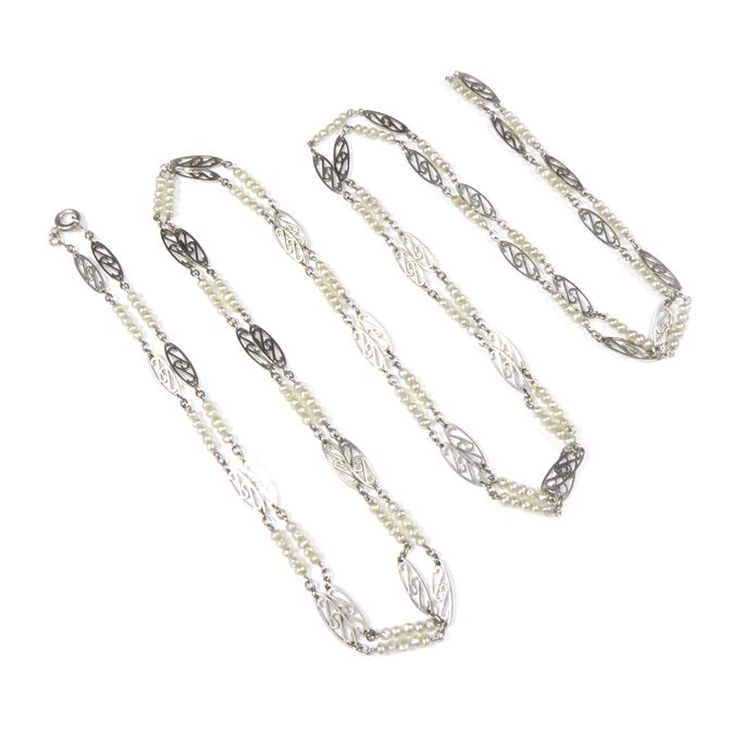Platinum oval link and seed pearl chain necklace | MasterArt