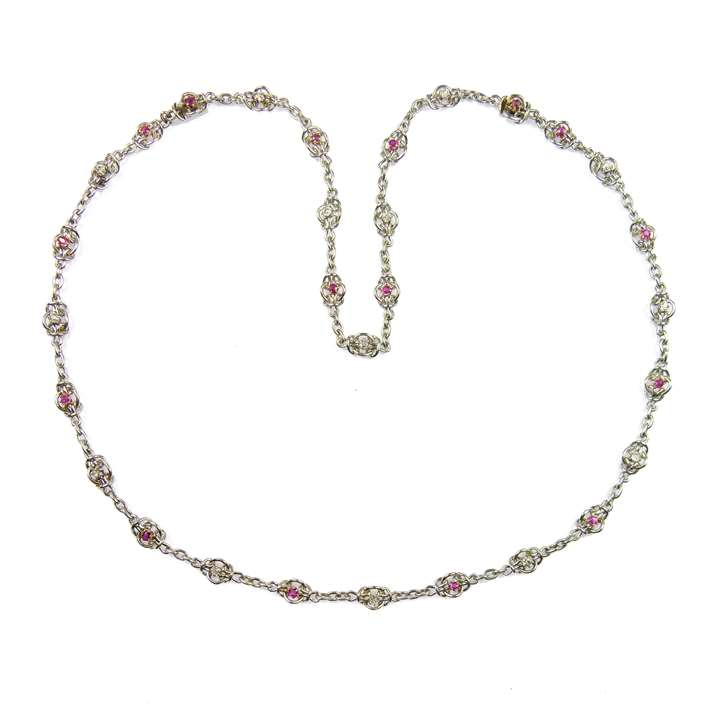 Early 20th century ruby and diamond chain necklace