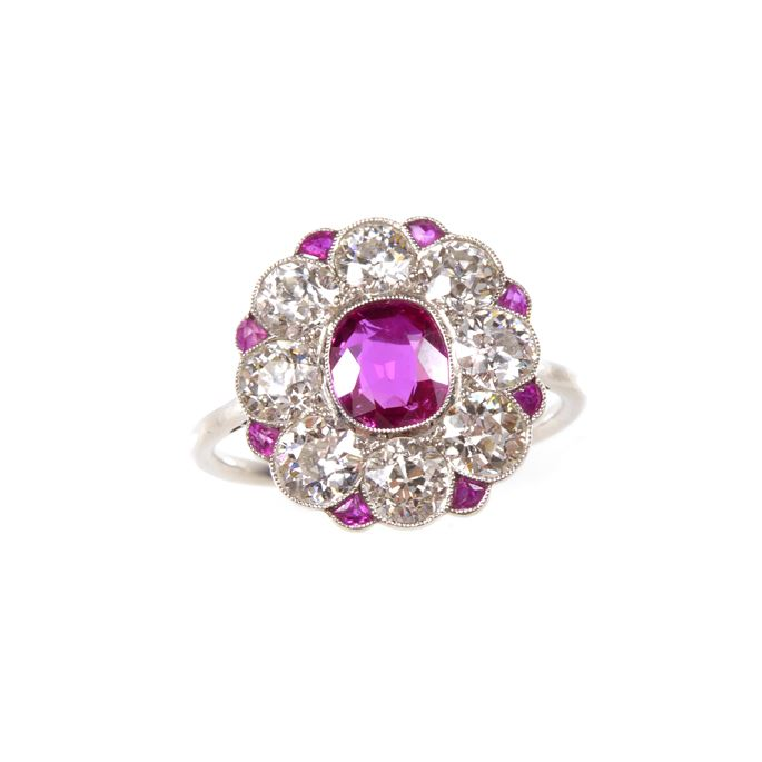 Early 20th century ruby and diamond flowerhead cluster ring | MasterArt