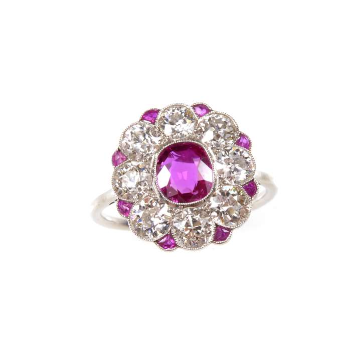 Early 20th century ruby and diamond flowerhead cluster ring