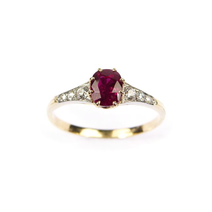 Ruby and diamond ring, claw set with a 1.04ct Burma ruby. | MasterArt