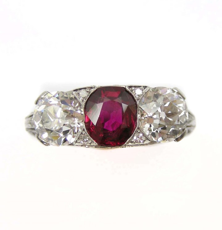 Early 20th century ruby and diamond three stone ring