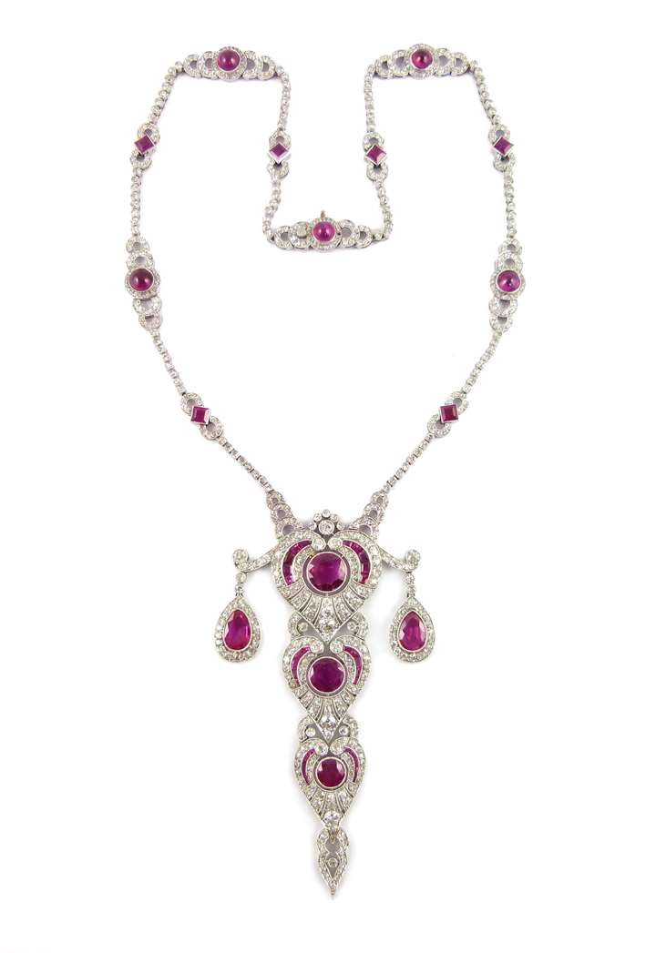 Ruby and diamond tiered pendant necklace