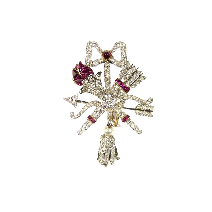 Early 20th century ruby and diamond trophy-of-love brooch