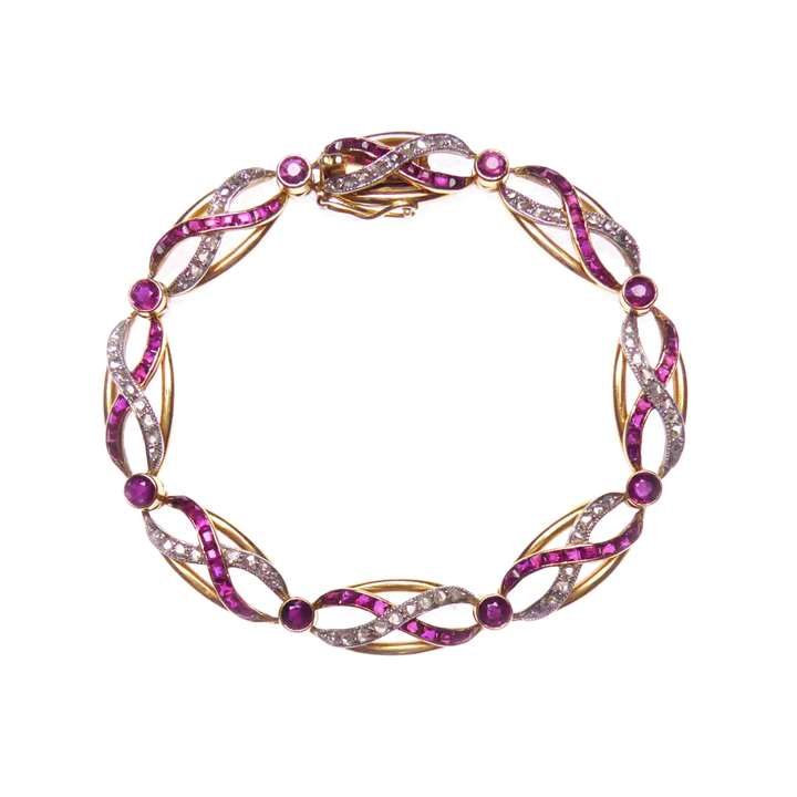 Early 20th century ruby, diamond and gold bracelet