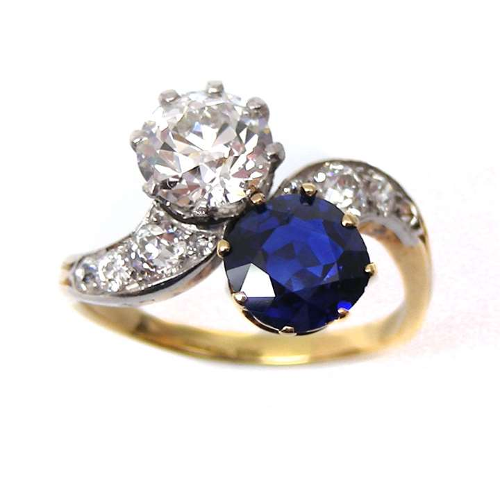Early 20th century sapphire and diamond crossover ring