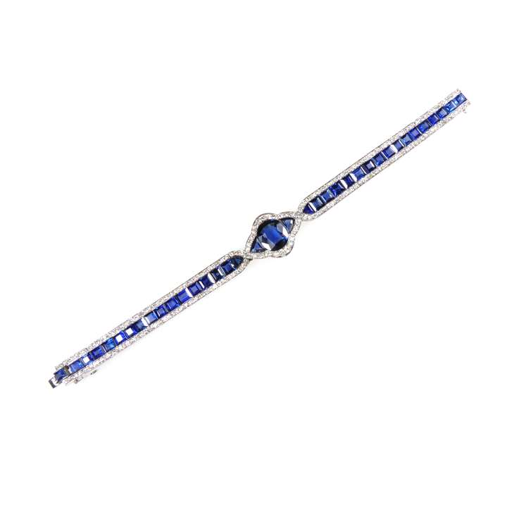 Early 20th century sapphire and diamond slender strap bracelet
