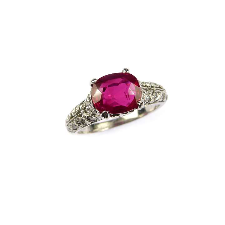 Early 20th century single stone Burma ruby and diamond ring