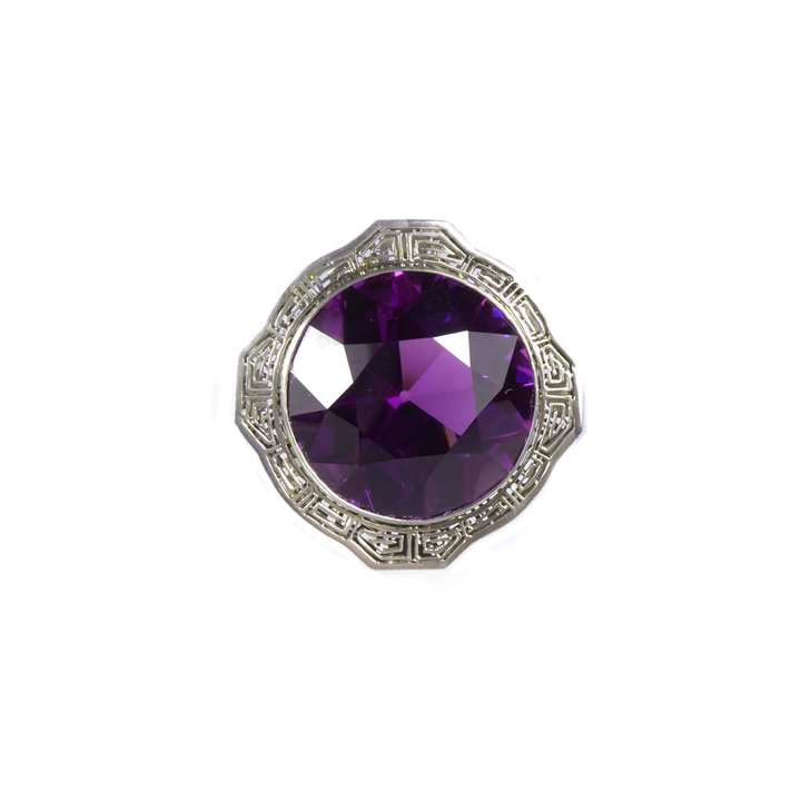 Early 20th century single stone amethyst brooch