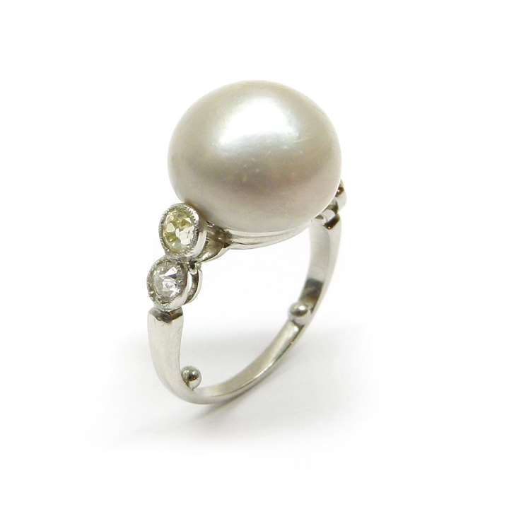 Early 20th century single stone pearl and diamond ring