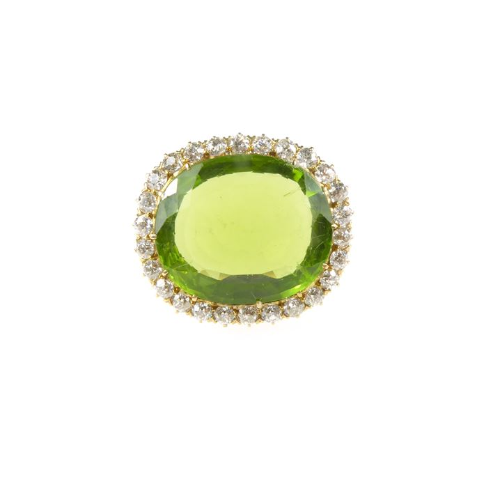 Tiffany - Early 20th century single stone peridot and diamond cluster brooch | MasterArt