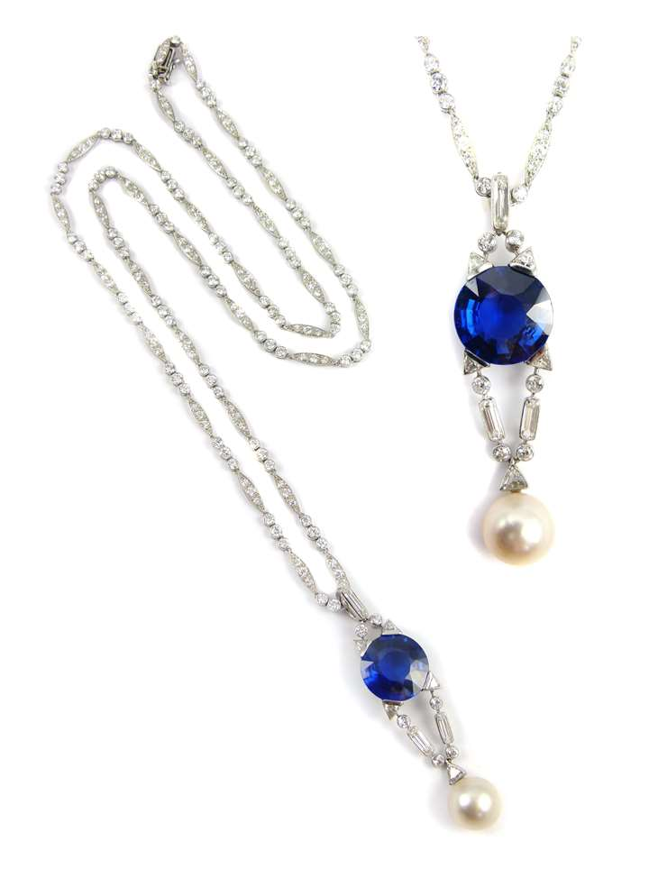 Early 20th century single stone sapphire, pearl and diamond pendant  together with a diamond set necklace