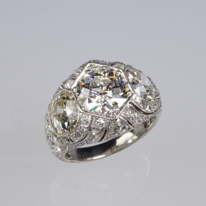 Early 20th century three stone diamond pierced cluster ring | MasterArt