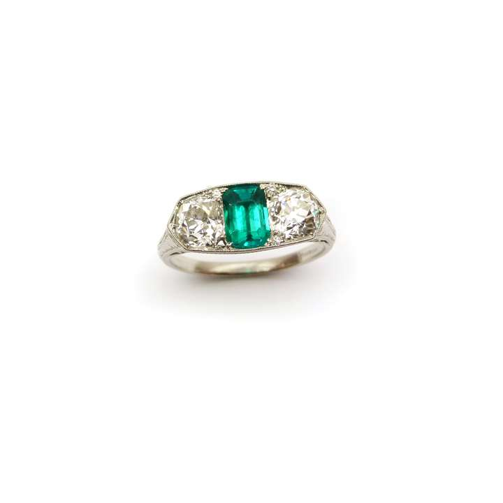 Early 20th century three stone emerald and diamond ring