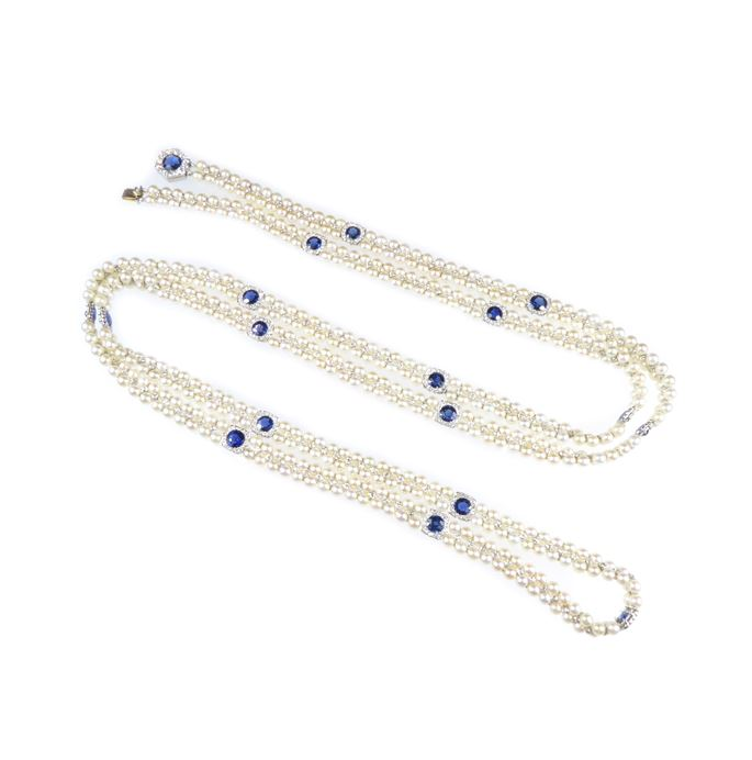 Two-row pearl, sapphire and diamond long chain necklace | MasterArt