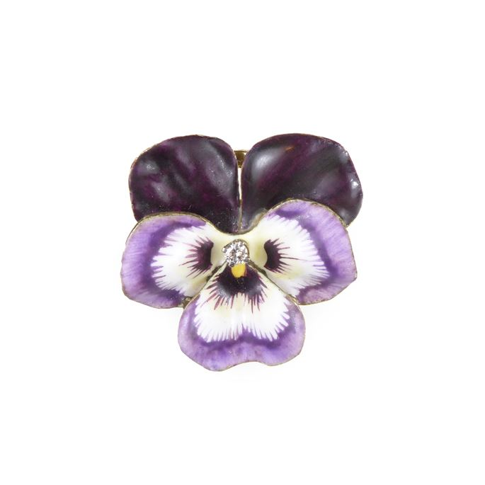 Early 20th century violet and white enamel, pearl and 14ct gold pansy brooch | MasterArt