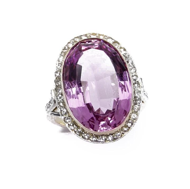 Early 20th cenutry pink topaz and diamond cluster ring