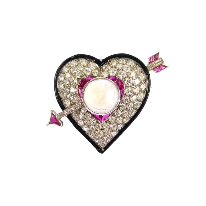 Early Art Deco diamond, ruby and moonstone heart and arrow brooch