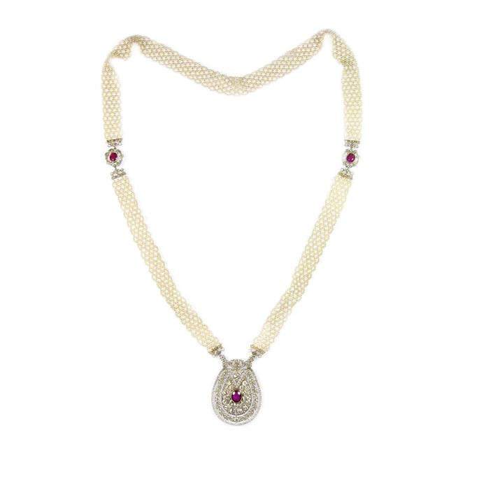 Edwardian Burma ruby, diamond and seed pearl pendant sautoir necklace | MasterArt